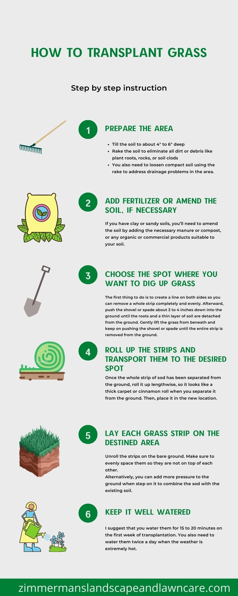 Step by step instructions of transplanting grass
